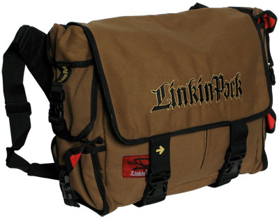 Linkin Park brown messenger bag.